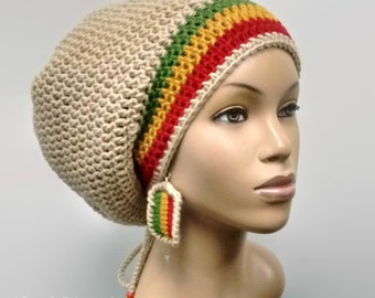 MADE TO ORDER Tan / Beige Slouch Hat/ dreadlock hat with Rasta Stripes Red Gold Green and drawstring /free matching crochet earrings