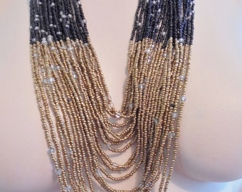 Vintage ALL GLASS Bib Necklace Gold Black Seed Beads Boho 1980's Statement Retro Art Deco Runway