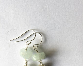 Aquamarine, Green Keishi Silver Earrings Lilyb444, Gifts for her, Bridal, Wedding,