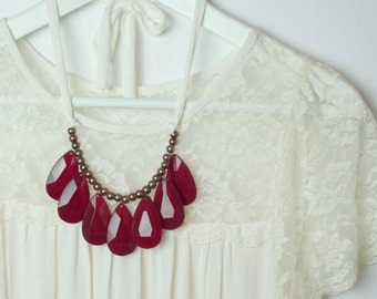 Burgundy Teardrop Tie Back Statement Necklace in Cranberry / Burgundy / Oxblood