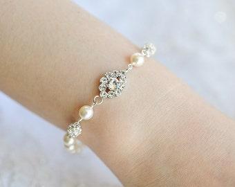 Pearl Bridal Bracelet, Crystal Wedding Bracelet, Oval Rhinestone Bracelet, Swarovski Pearl Bracelet, Art Deco Wedding Bridal Jewelry, TACIE