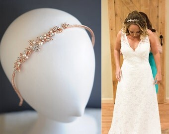 Rose Gold Wedding Headband, Vintage Style Crystal Flower Leaf Vine Headband, Swarovski Pearl Hairband, Bridal Wedding Hair Jewelry, TIMOTHEA