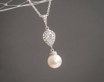 Bridal Wedding Necklace, Pearl Drop Bridal Necklace, Sterling Silver Pendant Necklace, Sworvski Pearl and Crystal Teardrop Necklace, ABELIA