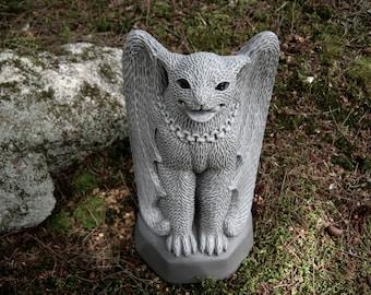 Cat Gargoyle, Evil Feline Concrete Garden Statue, Scary Kitty Cement Figure For Halloween?