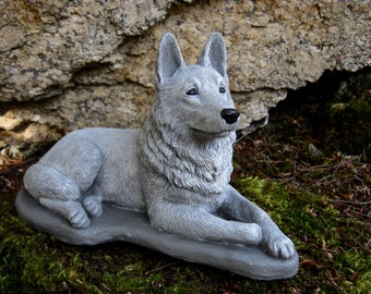 German Shepherd Statue, Concrete Dog Statues, Cement Statue, Police Dogs, Shepherd Statue, Pet Memorial, Garden Statue, Memorial For Dog