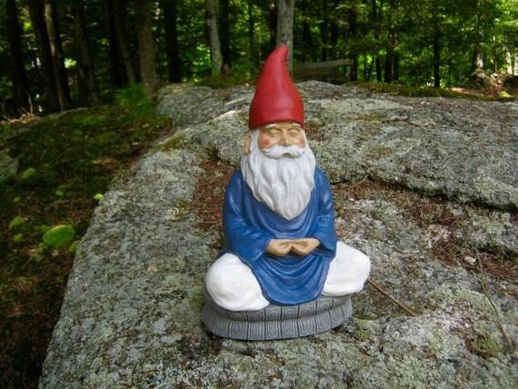 Gnome Garden: Gnome Statue Meditating Gnome Zen Garden Gnome Statue Yoga