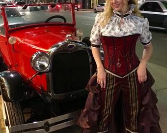 Time Traveler - costume set - Corset, Capris, Shirt, Ruffled Half Skirt, Top Hat -  Steampunk - Size M/L