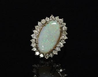 5.13ctw Opal & Diamond 14K Ring White Gold Size 6