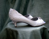 White lace low wedding shoes - The Alana for  crushgranny