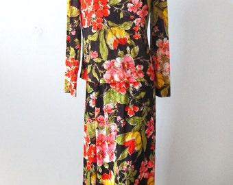1970s Floral 2-Piece Maxi Dress