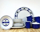 Midcentury Mikasa Dinnerware Set: Epiqure-One Tivoli Pattern D4501 Blue Daisy Set Six and More Sugar, Creamer, Plates, Bowls, Cups, Saucers