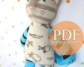 Stuffed toy cat sewing pattern PDF - Cat sewing pattern & tutorial - Make your own cat doll - DIY plush cat digital pattern - Cat cloth doll