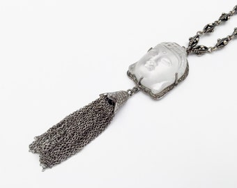 Pave Diamond Crystal Carved Buddha Head Stone and Tassel Pendant Necklace - Diamond Necklace - Buddha Necklace