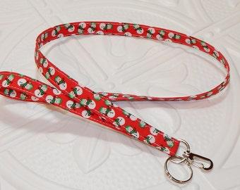 Lanyard - Fabric Lanyard - Badge Holder - Keychain - Key Lanyard - Snowmen