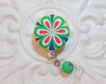 Retractable Badge Holder - Id Reel - Button Badge Reel - Green Blue Yellow