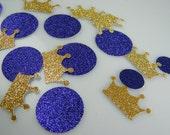 Prince Princess Baby Shower Decoration / Crown Confetti Gold & Purple Glitter /  First Birthday / Graduation / Boy or Girl Confetti / 100 ct