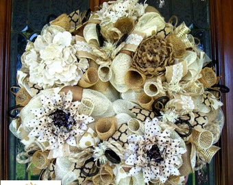 Burlap and Black Shabby Chic Burlap Wreath