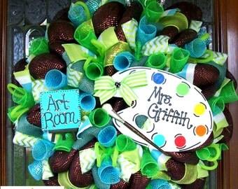 Custom Art Room Teacher/School Wreath, teacher wreath, wreath, wreaths, deco mesh wreath, deco mesh wreaths, front door wreaths, classroom