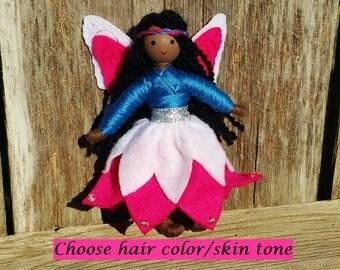 Fairy Doll - Dark Skin - Black Fairy Doll - Pink - Blue - Bendy Doll- Waldorf Fairy - African American - Flower fairy - fairy garden