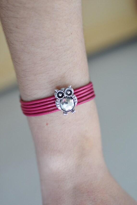 Girl bracelet, girl cuff, owls leather cuff, owl girl jewel,pink girl bracelet,girl jewelry,kids jewelry,small bracelet,pink girls jewelry