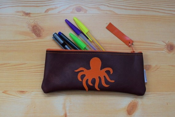 Leather pencil case,leather pencilcase,leather pouch,brown leather,brown pencil case,octopus,animal pencil case,octopus pencil case
