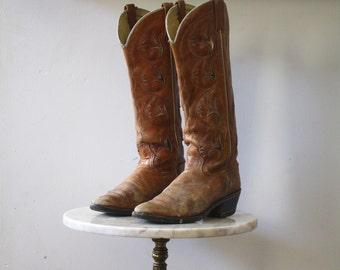 Cowboy Boots TALL - 7.5 8 Women's - Leather Brown Distressed - 1970s Vintage