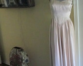 Vintage Satin Gown XS Petite / Beige Princess Gown Simple Classy Gorgeous