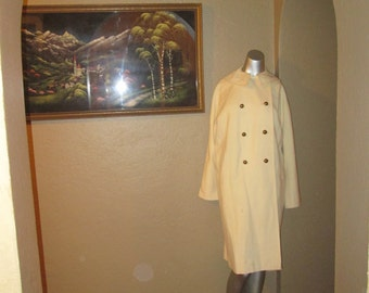 Vintage Large White Coat Double Breasted / Lawrence of London / 60s Women Coat