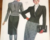 New Look 6061 Double Breasted Suit Jacket, Pencil Skirt Women's Misses Vintage 1980s Sewing Pattern Size 8-18 Bust 31-40 Uncut Factory Folds