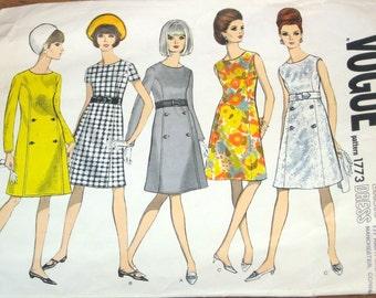 Vogue Basic Design 1773 A-Line Empire Dress High Waist Princess Seams Womens Misses Vintage 1960s Sewing Pattern Bust 34 Uncut Factory Folds