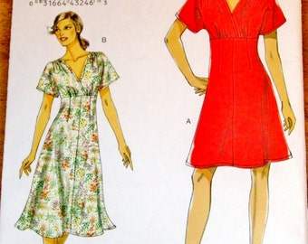 Vogue 8632 Flared Dress, Empire Surplice Bodice, Women's Easy Sewing Pattern Size 8-16, Bust 30-38 Fits Bra Cup A B C D, Uncut Factory Folds