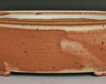 Oval Bonsai Pot with Orange and White Glaze