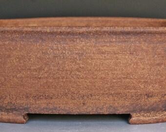 Rectangluar Bonsai Planter - Unglazed Red Stoneware with Rounded Corners