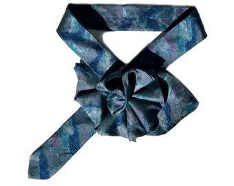 Ladies Necktie Scarf, Necktie Necklace, Up-cycled Mondo Uomo Necktie, Woman's Accessory Silk Tie Scarflette Ascot, blue grey lavender color