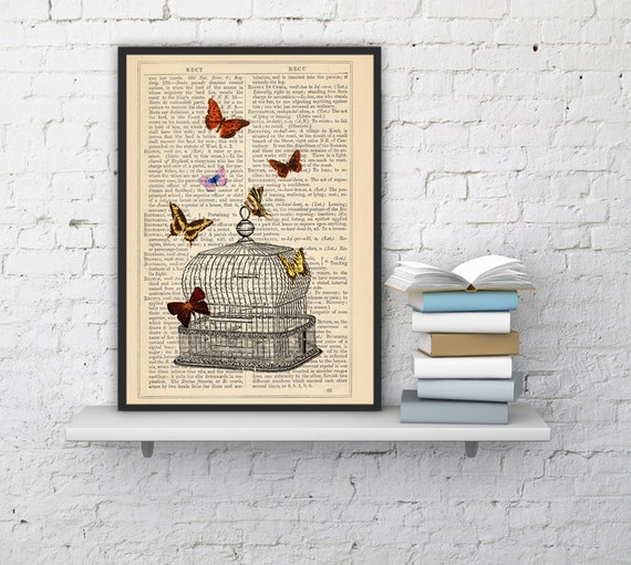 Spring Sale Release the Butterflies n06 Cage collage Print on Vintage Dictionary  page - book art print BPBB016