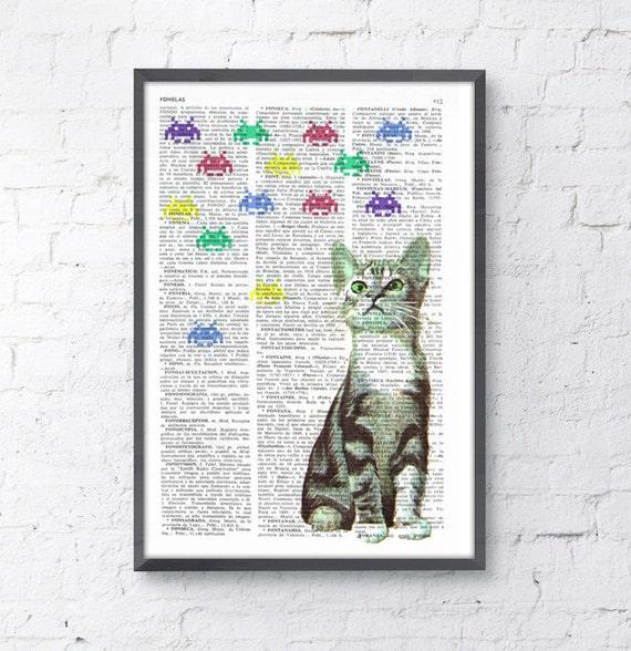 Summer Sale Kitten Vs Galaxians collage Print on Vintage Book page  Geek art,  Funny Nursery wall art, funny animal prints ANI232