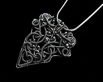 Large Sterling Silver Pendant - Viking Style Necklace - Statement Jewelry - Plain Silver Collection