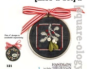Kiss A Bit OPTIONAL embellishments : Squareology Hands on Designs Just Another Button Co. cross stitch patterns Christmas mistletoe wall art