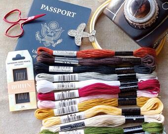 Pumpkin Passport 2016 SAL DMC 14 ct. Aida or 28 ct. Ale Linen Supply Kit : Frosted Pumpkin Stitchery cross stitch travel SAL