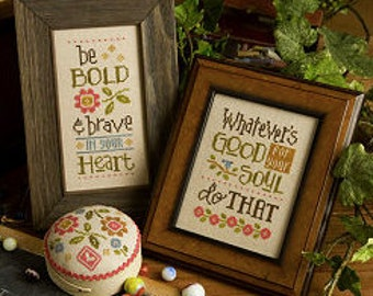NEW Be Bold and Brave : Lizzie Kate counted cross stitch patterns graduation pincushion wall art sayings hand embroidery