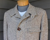 "vintage late 1950's -McGregor- ""Suburban Coat'. Heavy diagonal stripe tweed with nubs - leather buttons - Fully lined. Oversize 40...42-44"