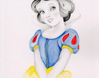 Snow White Inspired Art Print of my Original Work of Art Snow White Drawing Illustration Disney Inspired Art Snow White Decor Nursery Decor