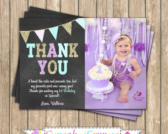 One First Birthday mint Lavender gold  Thank You Card PRINTABLE chalkboard Thank you #1  chevron polka dot - 1034