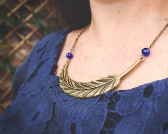 Statement Feather Beaded Necklace - Peacock Collection - Bridesmaid Gift, Wedding Jewelery, Boho Necklace
