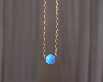 opal necklace, brilliant blue opal necklace, gold necklace, round opal necklace, solitaire opal necklace, bridesmaid gift, wedding gift