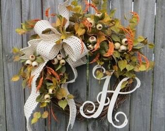 Fall Green Wreath, Fall Cream Wreath, Autumn White Wreath, Wreath, Door Wreath, Beanpod Wreath, Grapevine Wreath, Wreath, Thanksgiving