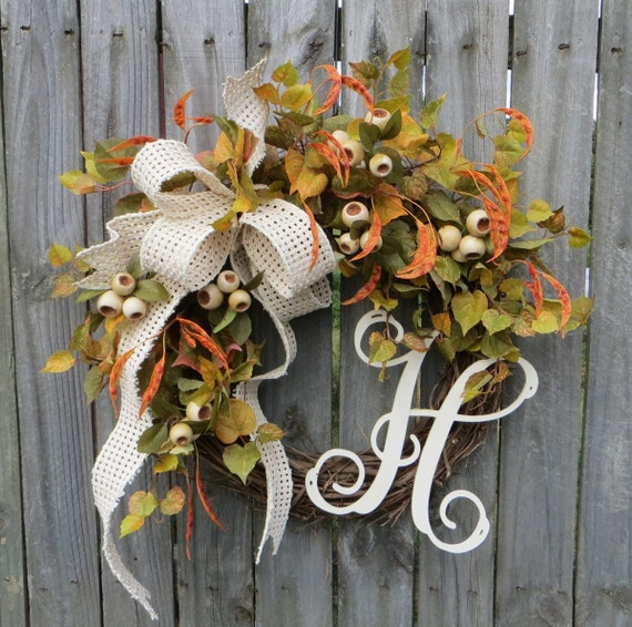 Fall Green Wreath, Fall Cream Wreath, Autumn White Wreath, Wreath, Door Wreath, Beanpod Wreath, Grapevine Wreath, Wreath, Thanksgiving