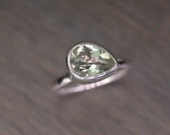 Prasiolite Stack Ring, size 7,8 silver pear teardrop 2ct stacking ring - Aimee Ring