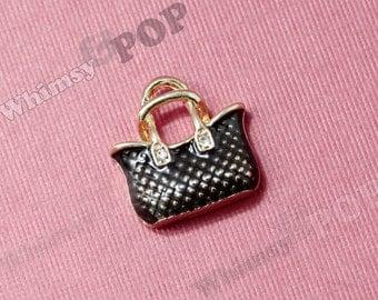 1 - Black Purse Handbag Doll Size Kawaii Charm, Red Handbag Charm, Red Purse Charm, 17mm x 10mm (R9-096)