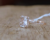 CERTIFIED  2.4 carat unheated white sapphire, Rose gold, diamonds halo engagement ring  JOAN-2005/2